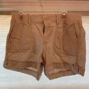 NWT tan  linen cargo shorts. Size 12